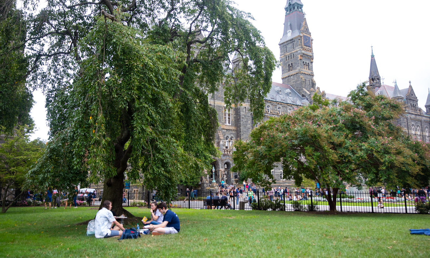 学生们 sit on Healy Lawn and chat on a sunny day, Healy Hall is in the background