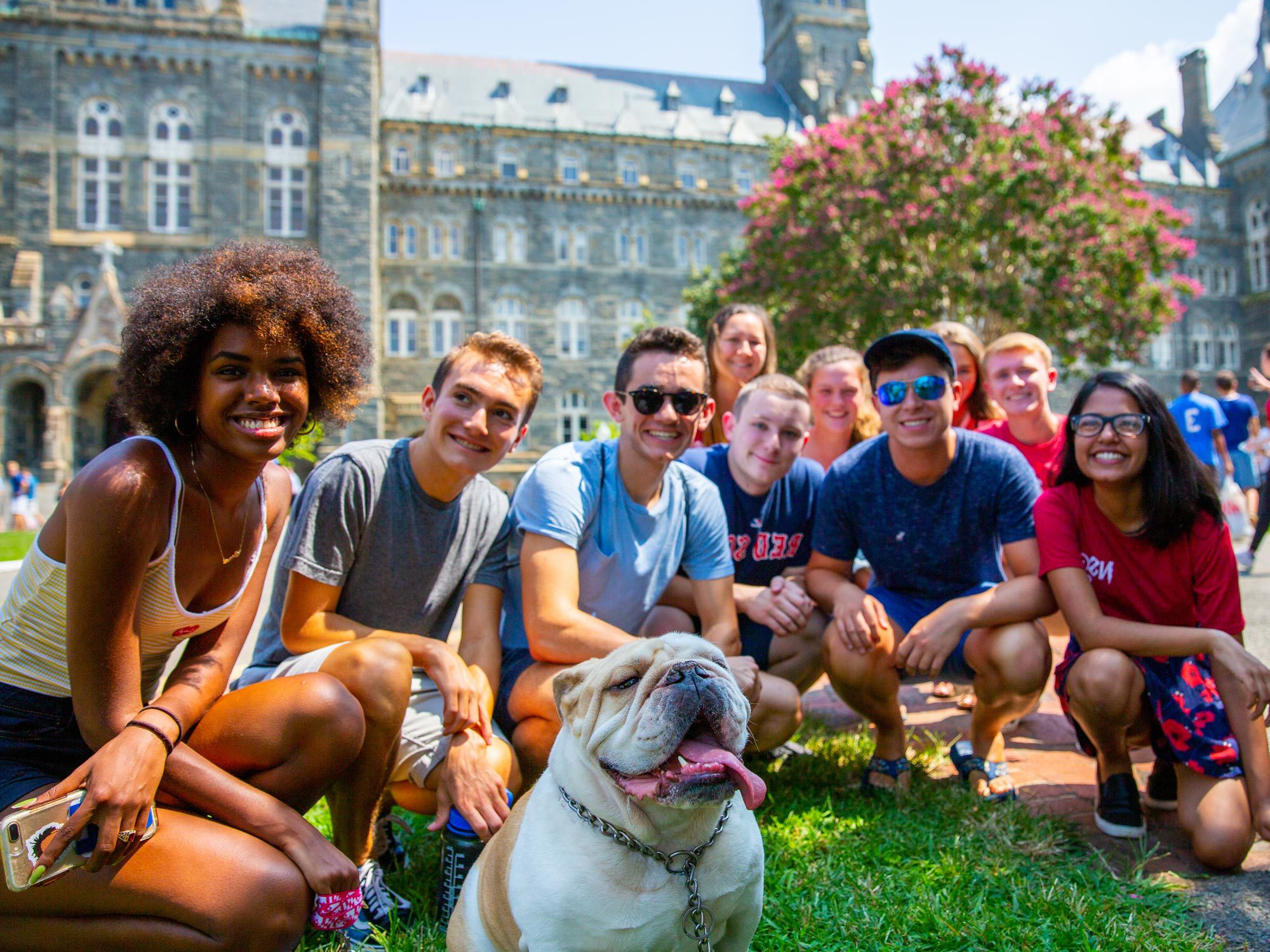 A group of students sit infront 的 Healy Hall, posing for a photo with Jack the bulldog.