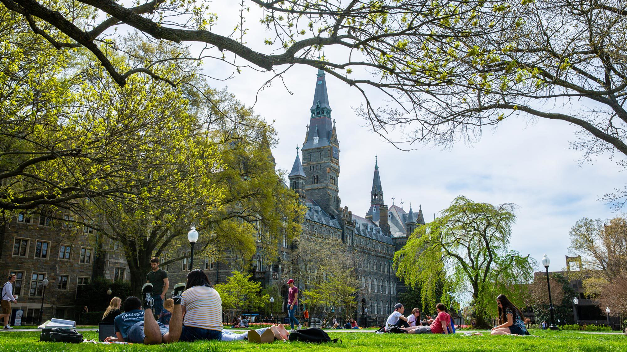 学生们 sit on a lush green lawn with Healy Hall standing tall in the background.
