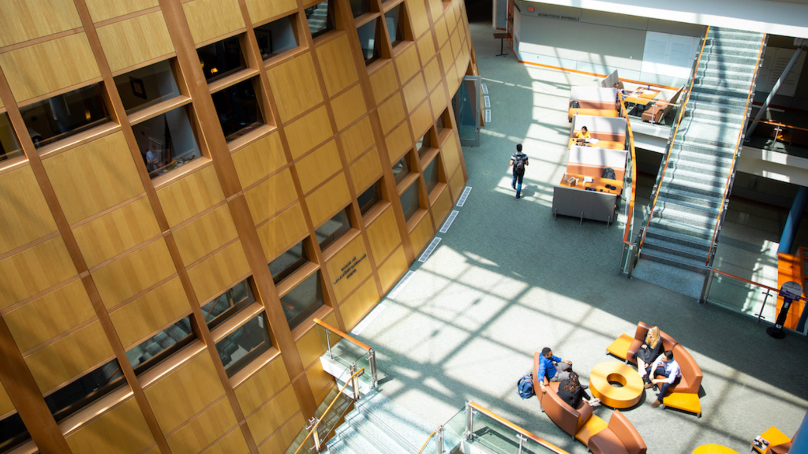 Image displays an aerial view of the inside of the McDonough School of Business